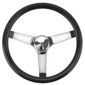 Speedway Classic Solid Spoke 13 Inch Black Steering Wheel No Holes