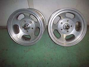 Ansen Sprint 15 X 8 Aluminum Slotted Wheels Hot Rod Gasser Pair