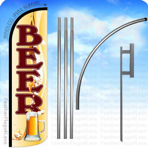 Beer Windless Swooper Flag 15 Kit Feather Banner Sign Yq