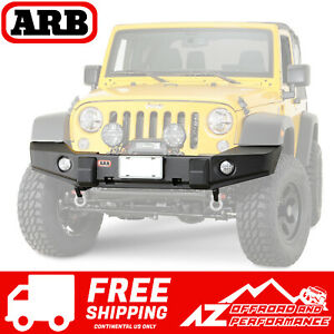 Arb Full Width Front Winch Bumper Textured Black Fits 07 18 Jeep Wrangler Jk