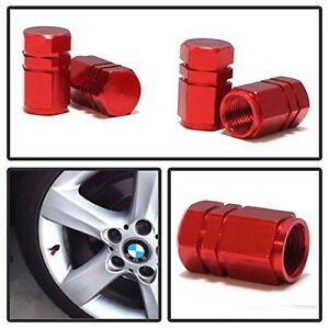 4 Tuner Racing Style Red Anodized Aluminum Tire Valve Caps Hexagon Shape
