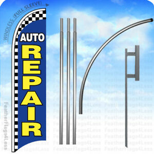 Auto Repair Windless Swooper Flag 15 Kit Feather Banner Sign Checkered Bb