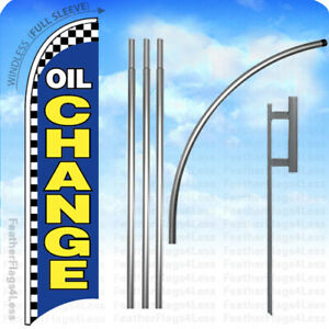 Oil Change Windless Swooper Feather Flag 15 Kit Banner Sign Checkered Bb
