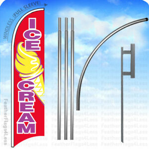 Ice Cream Windless Swooper Feather Flag 15 Kit Banner Sign Rb