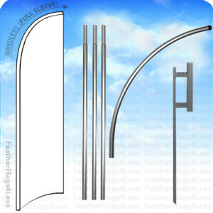 Solid Color White Windless Swooper Feather Flag 15 Kit Banner Sign Wb