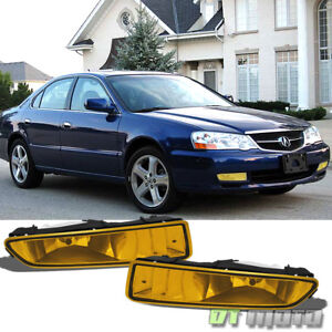 2002 2003 Acura Tl Bumper Driving Yellow Fog Lights Lamps bulbs Left right Pair