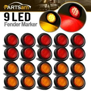 20x 2 Round Side Marker Clearance Light Trailer Amber red 9led For 12v Vehicles