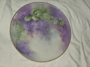 Limoges Antique Charger Hand Painted Wisteria Flowers Vines Sale