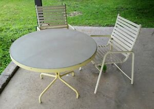 Vintage Thinline Brown Jordan Patio Set 2 Chairs 1tables Eames Danish Modern