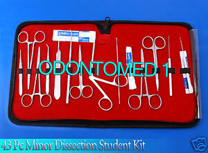 43 Pc Minor Dissection Student Surgical Instruments Kit