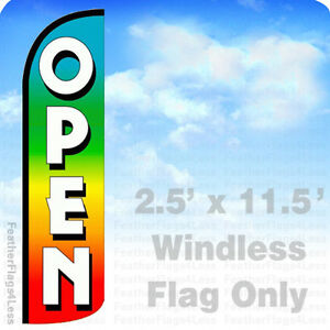 Open Windless Swooper Feather Flag Banner Sign 2 5x11 5 Rainbow Q