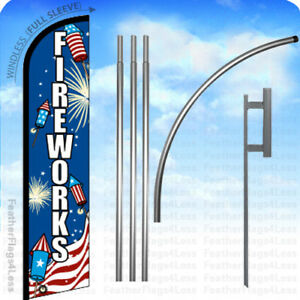Fireworks Windless Swooper Flag 15 Kit Feather Banner Sign Bf