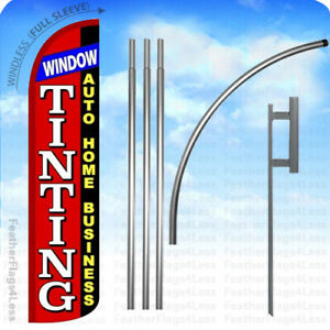 Window Tinting Windless Swooper Flag 15 Kit Feather Banner Sign Rz