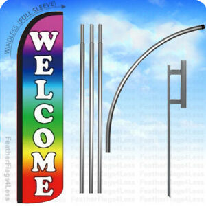 Welcome Windless Swooper Flag 15 Kit Feather Banner Sign Rainbow Z