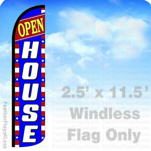 Open House Windless Swooper Feather Flag Banner Sign 2 5x11 5 Bz
