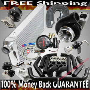 Gt35 Turbo 2 5 Intercooler Piping Bov Wastegate 4in1 Gauge High Performance Kit