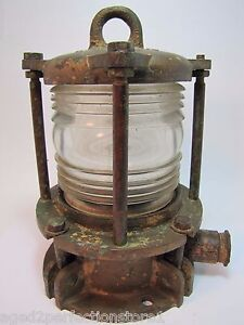 Original Old Nautical Ships Lamp Brass Boat Light Ribbed Clear Glass Heavy 13lb