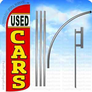 Used Cars Windless Swooper Flag 15 Kit Feather Banner Sign Rq