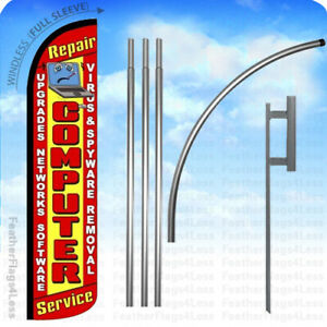 Computer Repair Service Windless Swooper Feather Banner Sign Flag Kit Rz