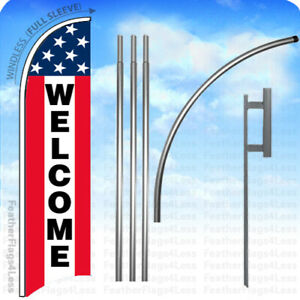 Welcome Windless Swooper Flag 15 Kit Feather Banner Sign Stars Stripes Rb