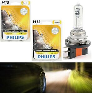 Philips Standard H15 15 55w Two Bulbs Head Light Drl Daytime High Beam Replace
