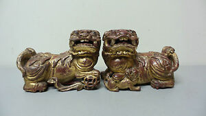 Great Original Pair Antique Chinese Carved Gilt Wood Foo Dog Figurines