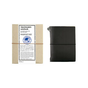 Traveler s Notebook Passport Size Black Leather Cover Midori Japan 15026006