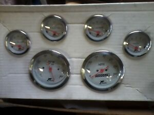 Dolphin Gauges Set Of 6 With Tachometer White Hot Street Rat Rod Custom