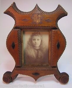 Antique Tramp Art Frame Nice Layered Wood Flowing Curves Unique Old Fol