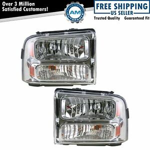 Headlights Headlamps Left Right Pair Set For 05 07 Ford Super Duty Truck