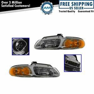 Headlights Headlamps Left Right Pair Set For 2000 Grand Caravan Voyager