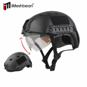 Military Tactical Gear Airsoft Paintball SWAT Protective FAST Helmet w Goggle