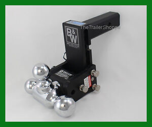 B W Tow Stow Receiver Hitch Tri Ball Mount 1 7 8 2 2 5 16 Balls 5 5 Drop