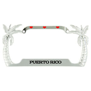I Love Heart Puerto Rico Palm Tree Metal License Plate Frame Tag Holder