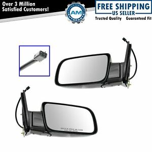 Mirrors Power Black Folding Left right Pair Set For Chevy Gmc Pickup Truck