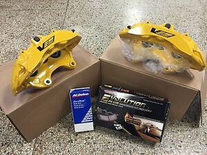 2009 13 Cadillac Cts V Brembo Yellow 6 Piston Front Calipers W Pads Pins Zl1