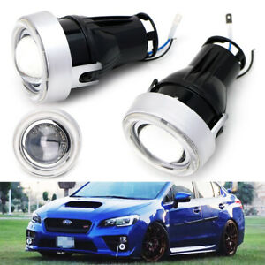 Direct Fit Led Halo Angel Eyes Projector Fog Lights Kit For Acura Honda Ford Etc