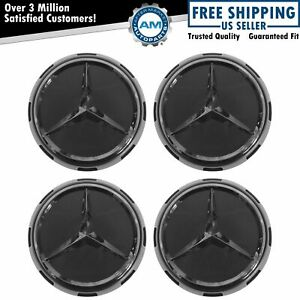 Oem Center Cap Raised Logo Gray Chrome Set Of 4 For Mercedes Benz New