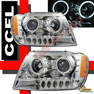 1999 2004 Jeep Grand Cherokee Ccfl Halo Led Projector Headlights Rh Lh