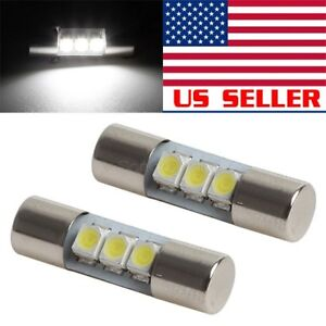 2x Usa Hid Cool White Festoon 23mm Led For Nissan Titan Sun Visor Vanity Mirrors