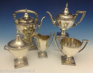 Etruscan By Gorham Sterling Silver Tea Set With Kettle 5pc 0368
