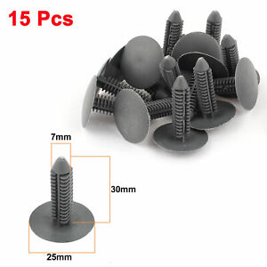 Car Parts Plastic Push Screw Rivet Panel Fixings Clips Gray 15 Pcs