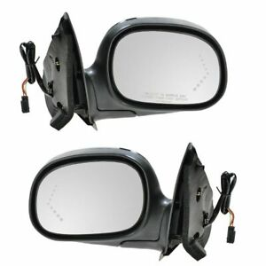Mirrors Power Signal Chrome Left Lh Right Rh Pair Set For Ford F150 F250