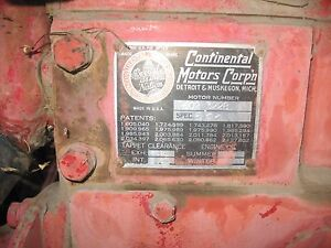 R602 Continental Engine 6 Cyl Vintage Motor Gasoline