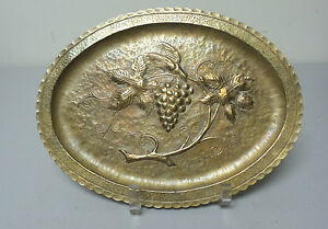 Lovely Arts Crafts Era Hand Hammered Brass Oval Tray With Grape Vine Design