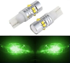 Led Light 50w 194 Green Two Bulbs Front Side Marker Parking Show Replacement T10