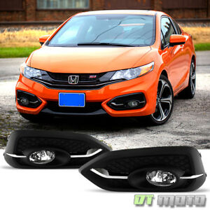 For 2014 2015 Honda Civic Coupe 2dr Fog Lights Bumper Lamps W switch bulbs 14 15