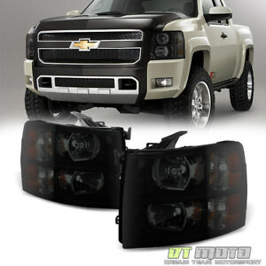 Black Smoke 2007 2013 Chevy Silverado 1500 2500 3500 Headlights Left right 07 14