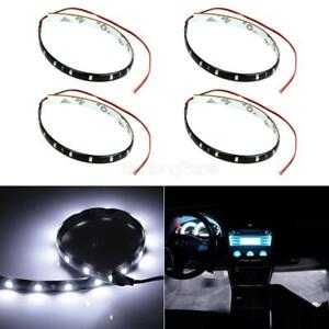Led White 4x 30cm Interior Strip Footwell Lights Under Dash Exterior Flexible