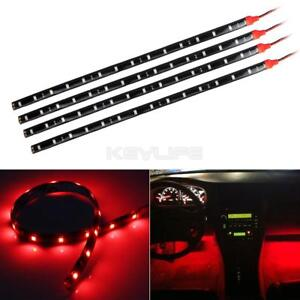 4x 15 Smd Red Led Strip Lights For Car Holder Glove Foot Area Under Dash Seat